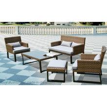 European Modern Plastic Rattan Wicker Sofa Set and Leisure Chairs Outdoor Furniture Set (F866)