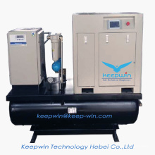 11KW Skid Mounted 300L air tank Refrigerator Dryer line Pre- filter Screw Air Compressor