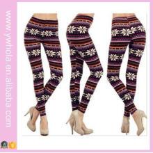 Plus Size Xmas Snowflake Fleece Warm Stretch Pants (14341)