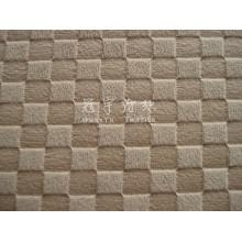 Tela de sofá de pila corta en relieve de poliéster con patrón de cuadrícula