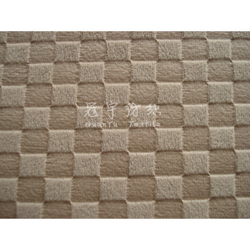 Tissu de canapé à poils courts en relief en polyester avec motif de grille