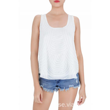 White Fashion Sequined Tank Tops