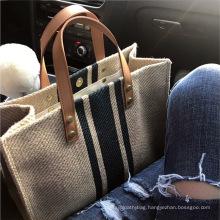 2021 Low MOQ Fashion Korean Style Jute Handbags Tote Bags for Women