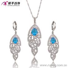 Lámparas de lujo de rodio CZ Diamond Fashion Imitation Jewelry Set 63682