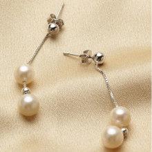 Круглая серьга перлы свежей воды