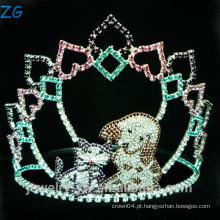 Rhinestone colorido Tiara bonito para miúdos, tiara do cão para miúdos, coroa do menino
