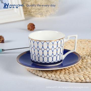 Weiße Eleganz-Knochenporzellan-Kaffeetasse und Untertassen für Kaffee