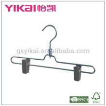 Aluminium skirt/trousers hanger with plastic clips and swivel hook