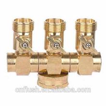 Válvula de água de bronze de 3 vias