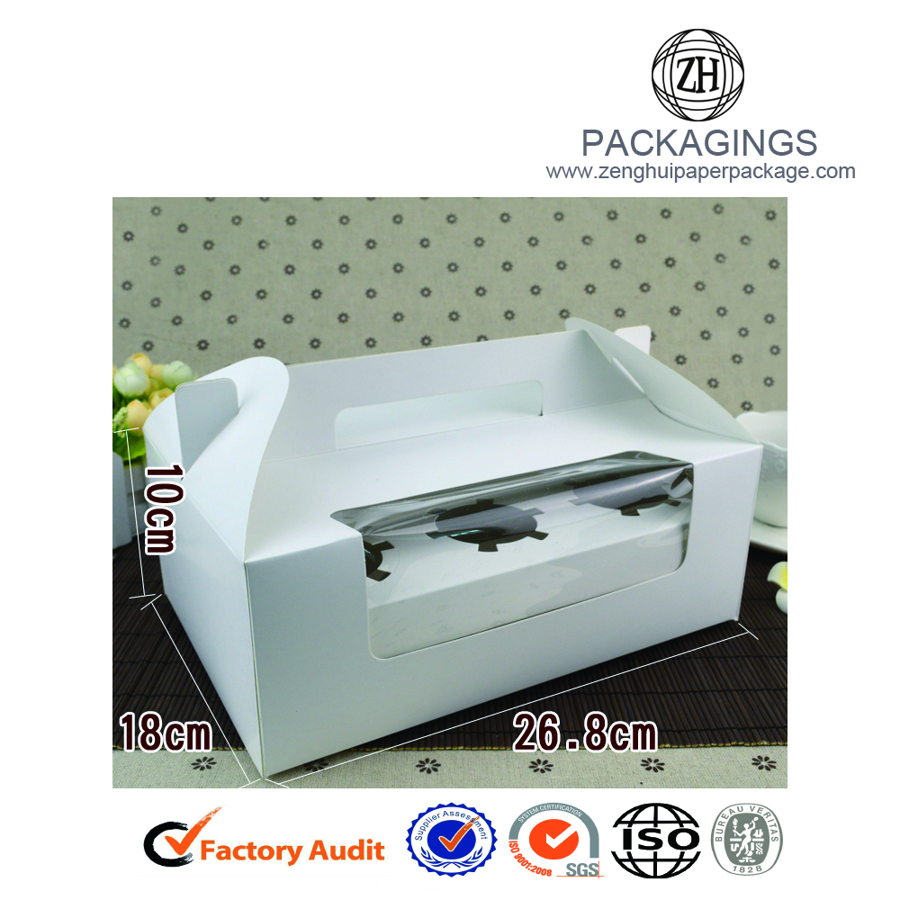 Square clear window paper cake packaging box