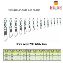 Brass Material Crane Swivel with Safety Snap Fishing Swivel