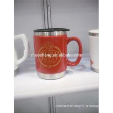 high demand products ceramic mug with stainless steel base, ceramic chalk mug