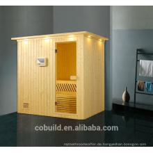 K-715 Neue Design-Massivholz-Sauna-Zimmer rechteckige Sauna Dampfbad, trockene Sauna Dampfbad