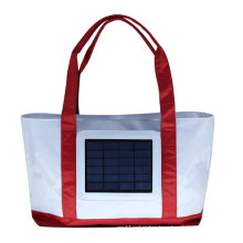 solar beach bag with 2.4W solar panel, 2000 mah solar panel charger backpack bag with solar