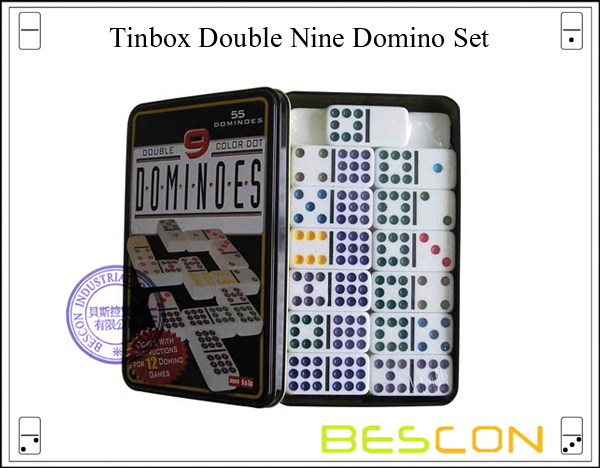 Tinbox Double Nine Domino Set