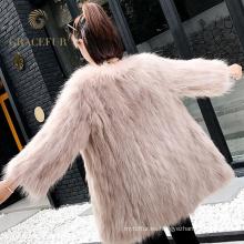 Abrigo de piel de mapache y verdadero cuero de mapache
