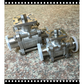 3-Pieces Sanitary Ball Valve with ISO 5211 Direcrt Mounting Pad