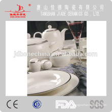 pure creamy gold micro-gold silver platinum royal bone china dinnerware tableware with white embossed design