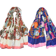 Womens Beach Voile Soft Long Beautiful Flowers Printed Wrap Shawl Scarf (SW106)