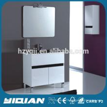 Black Glass Countertop Mirrored Standing Double Door PVC Waterproof Glass Bathroom Cabinet