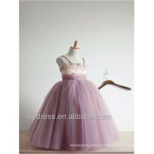 Сшитое бальное платье принцессы платье девушки цветка с бретельках тюль из бисера первое причастие платья для девочек ML086