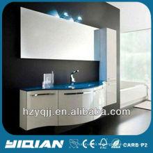 Европейская мебель для ванных комнат Настенное синее цветное закаленное стекло для мытья бассейна Блеск Белый изогнутый дверной шкаф для ванной комнаты из ПВХ