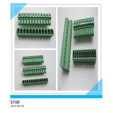 Pino do ângulo 12 de 3.5mm / tipo tipo conectável verde conector do bloco terminal de parafuso