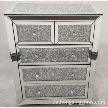 Crushed Diamond 5 Drawer MDF gespiegelte Truhe