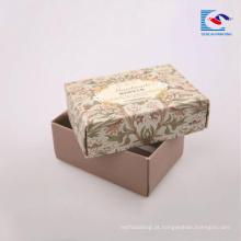 A flor imprimiu o empacotamento UV feito a mão do sabão do ponto lustroso da laminação da caixa de papel do presente