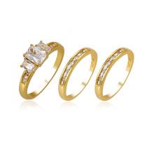 14127 xuping luxo 24 K ouro cor ambiental de cobre gemstone sintético conjunto anel