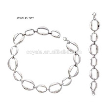 Trendy Hiphop Punk Style Silver Link Chain Jewelry Set