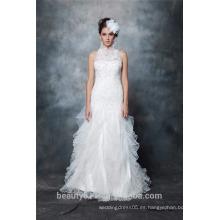 Por encargo una línea sexy escote halter y vestido de novia de encaje sin espalda AS291