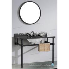 K-7005A nuevo diseño moderno de acero inoxidable marco hotel consola de baño vanidad con encimera de mármol