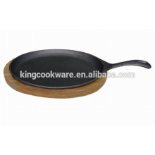 cast iron sizzling pan wooden tray