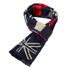 Premium in stock UK flag printing design knitted men scarf wholesale