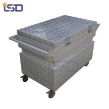 4 * 4 rodízios caixa de armazenamento de ferramentas de alumínio à prova de choque 4 * 4 rodízios caixa de armazenamento de ferramentas de alumínio à prova de choque