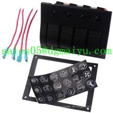 4 Gang Aluminium LED Waterproof Wippschalter Panel Leistungsschalter