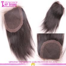 Самый красивый, самый продаваемый девственной бразильский шелковистые прямые волны волос кружева закрытия для женщин