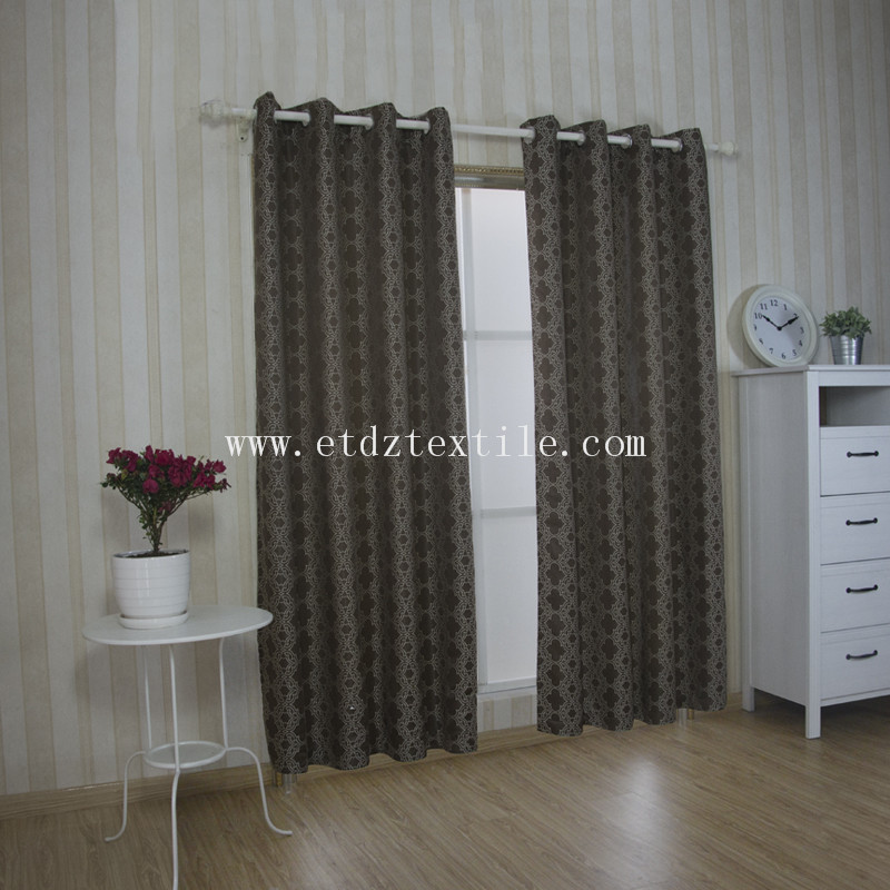 100% Polyester Jacquard Window Curtain GF027 Chocolate