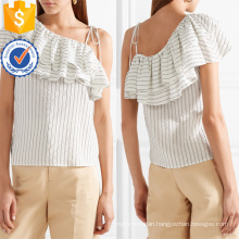 One-Shoulder Short Sleeve White And Black Ruffled Striped Summer Top Manufacture Wholesale Fashion Women Apparel (TA0090T)