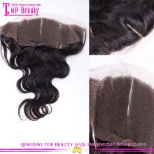 Высокое качество шелка закрытие баз кружева лобной природных волны индийские человеческие волосы шелковыми закрытие баз кружева лобной