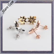 Moda prata 925 banhado a ouro Star forma brinco jóias