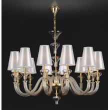 Glass Chandelier with White Fabric Shade (81077-12)