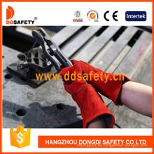 Guante de trabajo de guante de seguridad de guante de cuero dividido de vaca roja Dlw615