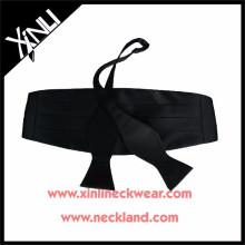 Corbata de lazo negra tejida seda y corbata de lazo de Cummerbund