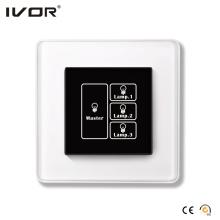 3 Gangs Interruptor de iluminación Panel táctil con marco de control de cristal maestro marco (HR1000A-GL-L3M)