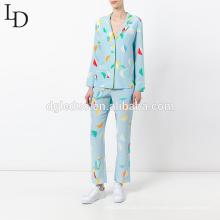 wholesale sleepwear set autumn long sleeve print women pajamas