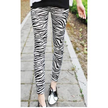 Seamless Zebra Print Leggings For Women Paper Printed
