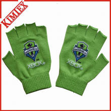 Customs Promotion Knitted Magic Fingerless Glove with Printing