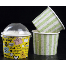 OEM Disposable Buttermilk Ice Cream Paper Cup with Cover